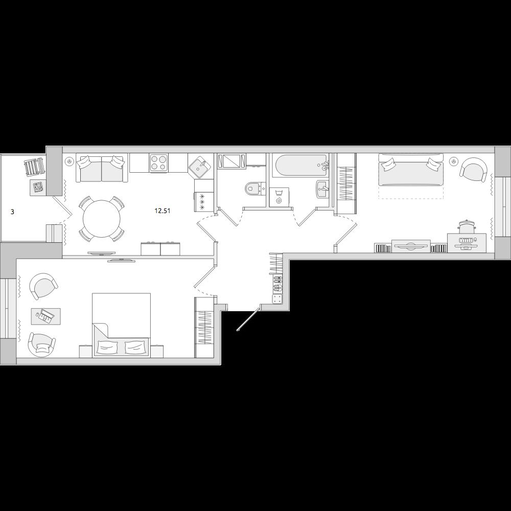 Планировка Двухкомнатная квартира площадью 55.2 кв.м в ЖК «ЦДС «Новое Янино»»