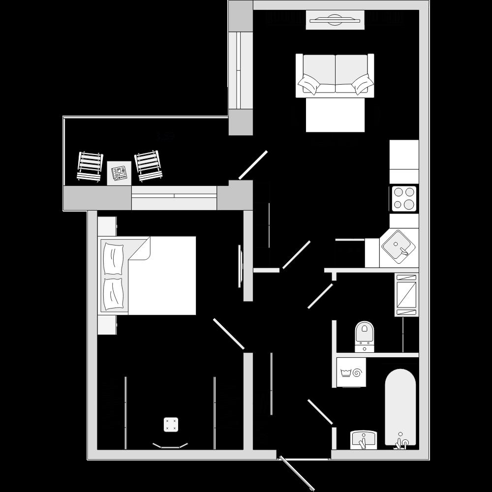 Планировка Двухкомнатная квартира площадью 40.03 кв.м в ЖК «ЦДС «Новое Янино»»
