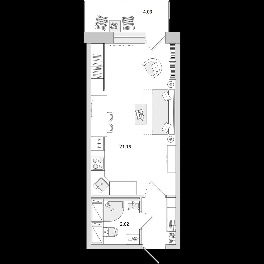 Планировка Студия площадью 30.55 кв.м в ЖК «ЦДС «Новое Янино»»