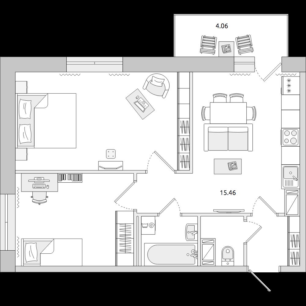 Планировка Трёхкомнатная квартира площадью 51.78 кв.м в ЖК «ЦДС «Новое Янино»»