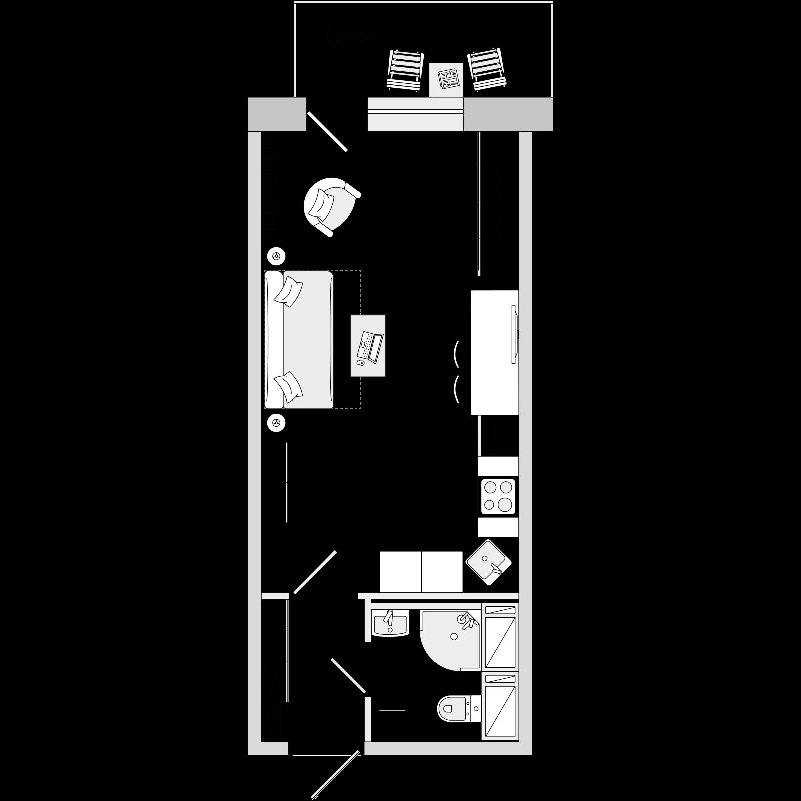 Планировка Студия площадью 27.93 кв.м в ЖК «ЦДС «Новое Янино»»