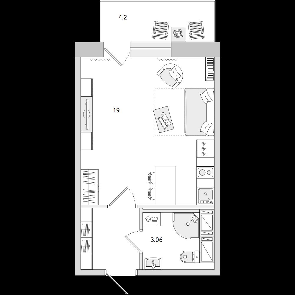 Планировка Студия площадью 29.79 кв.м в ЖК «ЦДС «Новое Янино»»