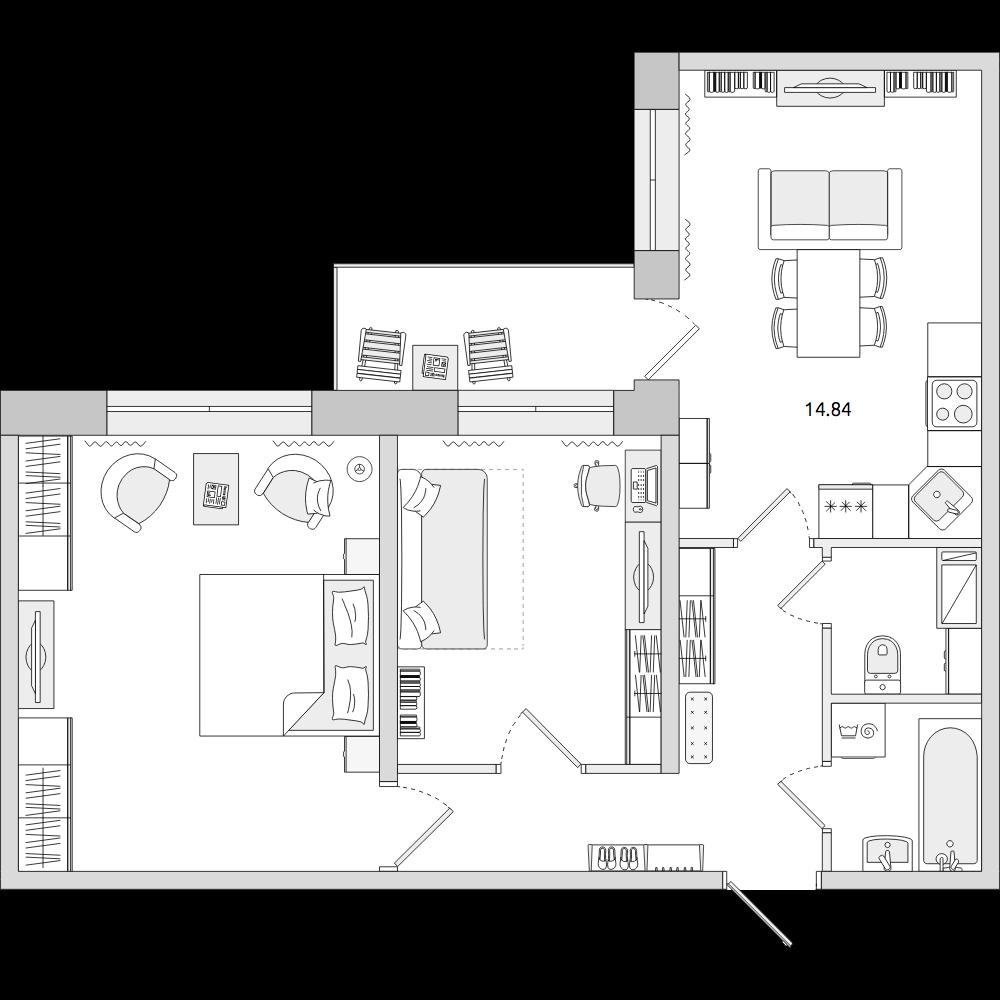 Планировка Трёхкомнатная квартира площадью 56.47 кв.м в ЖК «ЦДС «Новое Янино»»